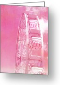 Baby Room Photo Greeting Cards - Surreal Hot Pink Carnival Festival Ferris Wheel Greeting Card by Kathy Fornal