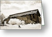 Falling Down Greeting Cards - Surreal Infrared Sepia Crumbling Barn Landscape Greeting Card by Kathy Fornal