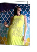 Fashion Photo Prints Greeting Cards - Surreal Mannequin Female In Yellow Dress - Summer Fashion Photography - Typography Quote Greeting Card by Kathy Fornal