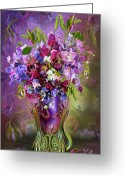 Romantic Floral Greeting Cards - Sweet Peas In Sweet Pea Vase Greeting Card by Carol Cavalaris