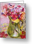 Jugs Greeting Cards - Sweet Peas with Cherries and Strawberries Greeting Card by Joan Thewsey