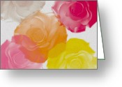Pastel Roses Greeting Cards - Sweet Roses oil digital painting Greeting Card by Georgeta Blanaru