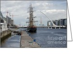 Jeanie Greeting Cards - Tall Ship in The Liffey Greeting Card by Hugh Reynolds