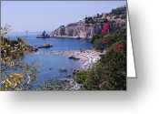 Scenary Greeting Cards - Taormina Beach Greeting Card by Dany Lison Photography