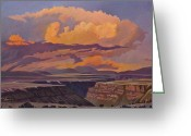 Taos Greeting Cards - Taos Gorge - Pastel Sky Greeting Card by Art West