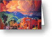 Sunny Painting Greeting Cards - Taos Inn Monsoon Greeting Card by Art West