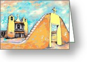 Taos Drawings Greeting Cards - Taos Pueblo Church Greeting Card by Peter Art Prints Posters Gallery