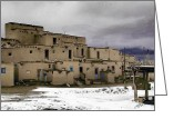 Taos Mixed Media Greeting Cards - Taos Pueblo Greeting Card by John Guthrie