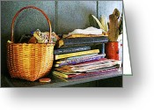 Professors Greeting Cards - Teacher - Books Basket and Quills Greeting Card by Susan Savad