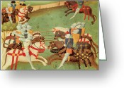 Knights Greeting Cards - Teaching Knights to Joust Greeting Card by French School