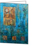 Patina Greeting Cards - Teal Windows Greeting Card by Debi Pople