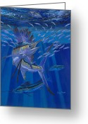 Marlin Azul Greeting Cards - Team Work Greeting Card by Carey Chen