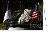 Teddybear Greeting Cards - Teddy Bear Ridin On Greeting Card by Christine Till