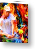 Lourry Legarde Greeting Cards - Tennis II Greeting Card by Lourry Legarde