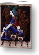 Girl Tapestries - Textiles Greeting Cards - Textile IDEA Greeting Card by Qasir Z Khan