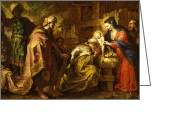 Featured Greeting Cards - The Adoration of the Magi Greeting Card by Orazio de Ferrari
