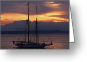 Seattle Waterfront Greeting Cards - The Adventuress Cruise Greeting Card by Kym Backland