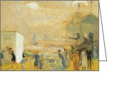 Featured Greeting Cards - The Battery Greeting Card by William James Glackens