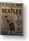 Paul Mccartney Greeting Cards - The Beatles Ed Sullivan Show Poster Greeting Card by Mitch Shindelbower