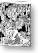 Featured Drawings Greeting Cards - The Cave Greeting Card by Sonja Funnell