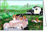 Cop Cars Greeting Cards - The Chase Greeting Card by Lisa  Adams