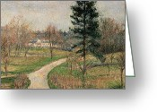 Pisarro Greeting Cards - The Chateau at Busagny Greeting Card by Camille Pissarro