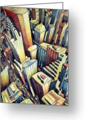 Size Different Greeting Cards - The Chrysler Building Greeting Card by Charlotte Johnson Wahl
