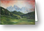 Ski Art Painting Greeting Cards - The Dolomites Italy Greeting Card by Jean Walker