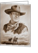 Graphite Mixed Media Greeting Cards - The Duke Captured sepia grain Greeting Card by Andrew Read