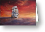 Galleons Greeting Cards - The Endeavour on Calm Seas Greeting Card by Jean Walker