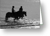 Riders Greeting Cards - The Equestrians-Silhouette V2 Greeting Card by Douglas Barnard