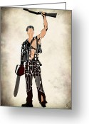 Poster Print Greeting Cards - The Evil Dead Inspired Bruce Campbell Greeting Card by Ayse Toyran