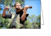 Renaissance Festival Greeting Cards - The Fiddler Greeting Card by Tessa Fairey