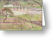 Pink Flower Branch Painting Greeting Cards - The Flood at Eragny Greeting Card by Camille Pissarro