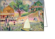 Featured Greeting Cards - The Green Beach Cottage Greeting Card by William James Glackens