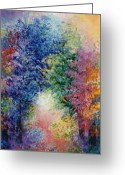 Trees Ceramics Greeting Cards - The healing garden Greeting Card by Jacqueline De Maillard