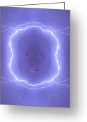 The Lightning Man Greeting Cards - The Lightning Man Blue Greeting Card by James Bo Insogna