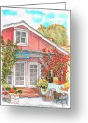 Vertical Painting Greeting Cards - The-little-red-barn-calabasas-ca Greeting Card by Carlos G Groppa