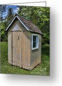 Vintage Outhouse Greeting Cards - The Long Drop Outhouse Greeting Card by Lee Dos Santos
