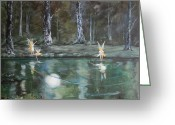 Etherial Greeting Cards - The Moon Fairies Greeting Card by Jean Walker