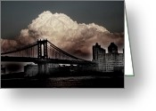 Brooklyn Bridge Mixed Media Greeting Cards - The Night is Coming Greeting Card by Leon Pinkney