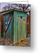 Vintage Outhouse Greeting Cards - The Ol Shack Outhouse Greeting Card by Lee Dos Santos