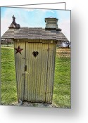 Vintage Outhouse Greeting Cards - The Ol Thunderbox Outhouse Greeting Card by Lee Dos Santos