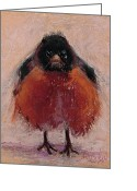 Red Pastels Greeting Cards - The Original Angry Bird Greeting Card by Billie Colson
