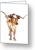 Texas Bluebonnet Greeting Cards - The Original Texas Longhorn Stands Greeting Card by Kathleen McElwaine