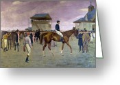 Bowler Hat Painting Greeting Cards - The Owner s Enclosure Newmarket Greeting Card by Isaac Cullen