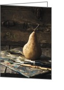 Rustic Greeting Cards - The Painters Pear Greeting Card by Amy Weiss