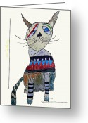 Posh Painting Greeting Cards - The Quirky Cat.cookie Greeting Card by Brian Buckley