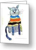 Posh Painting Greeting Cards - The Quirky Cats.orange Peel Greeting Card by Brian Buckley