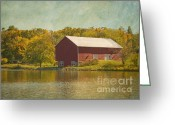 Foilage Greeting Cards - The Red Barn Greeting Card by Kim Hojnacki